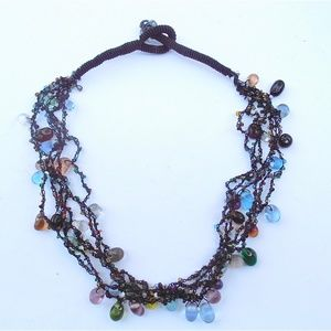 "Jewelry - Multi Colored Multi Strand 19"" Beaded Necklace"